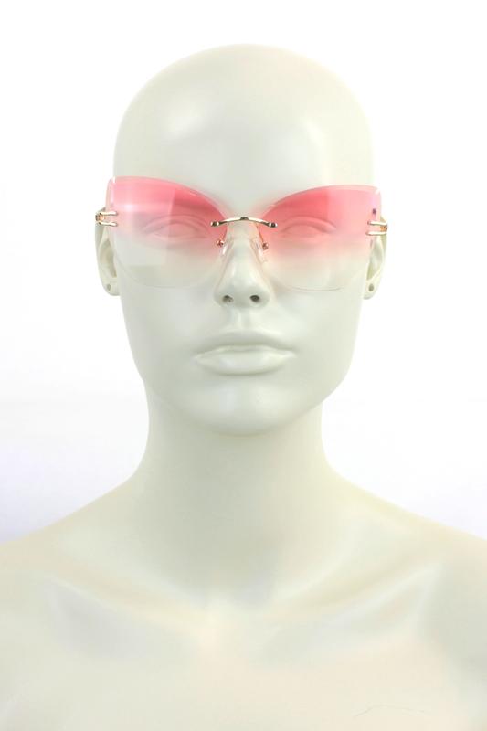 Moi Kristal Camlı Büyük Bayan Güneş Gözlüğü Pembe