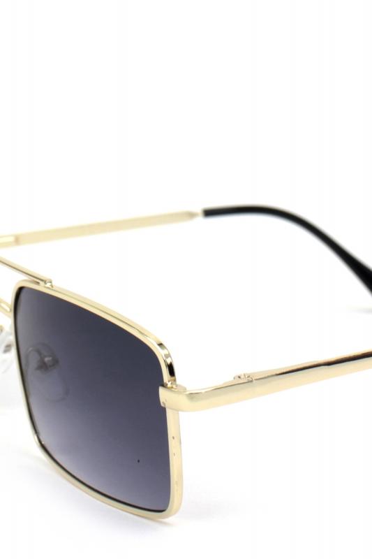 Monza Gold Metal Çerçeveli Küçük Dikdörtgen Erkek Güneş Gözlüğü Degrade Siyah