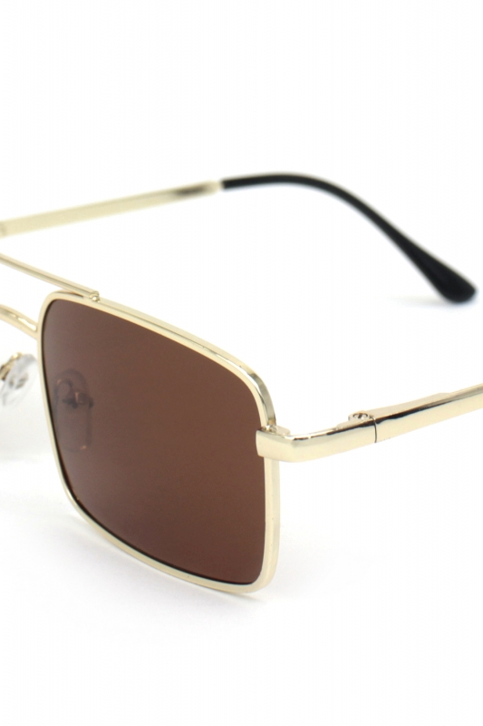 Monza Gold Metal Çerçeveli Küçük Dikdörtgen Erkek Güneş Gözlüğü Kahverengi