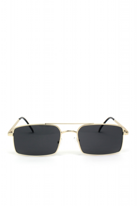 Monza Gold Metal Çerçeveli Küçük Dikdörtgen Erkek Güneş Gözlüğü Siyah