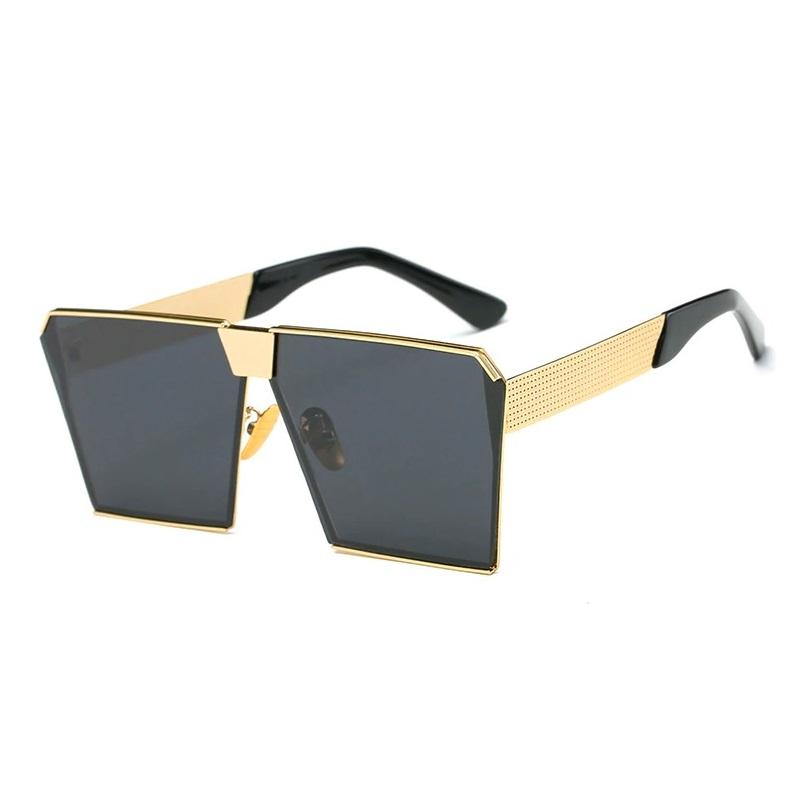 Must Üstü Düz Gold Metal Çerçeveli Büyük Güneş Gözlüğü Siyah