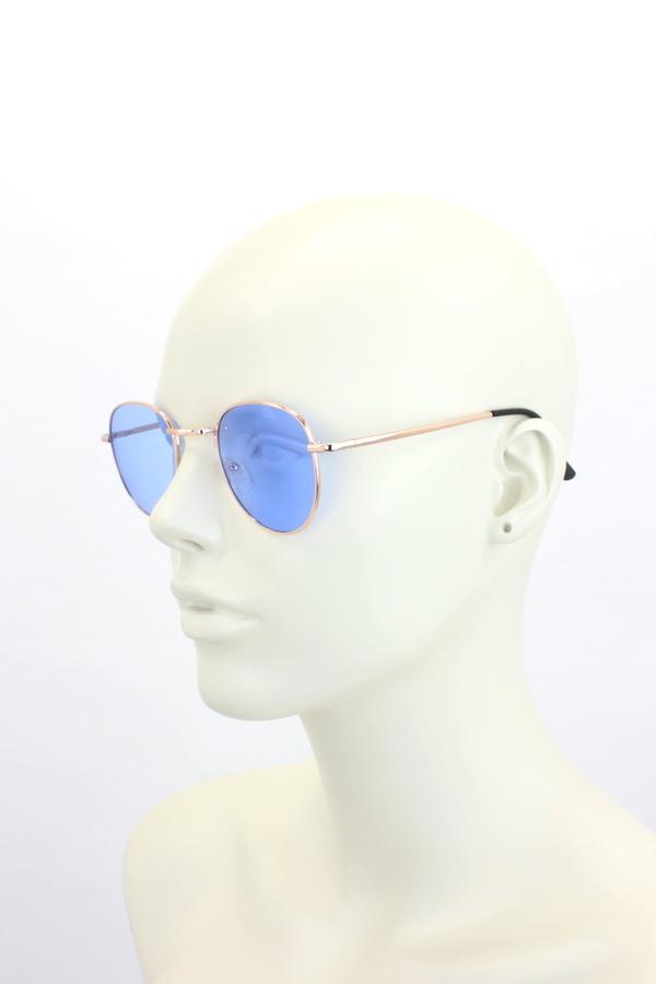 My Best Rose Metal Çerçeveli Küçük Yuvarlak Unisex Güneş Gözlüğü Mavi