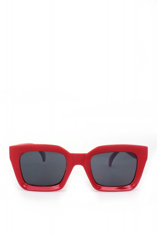 New Mia Kalın Çerçeveli Dikdörtgen Erkek Güneş Gözlüğü Kırmızı