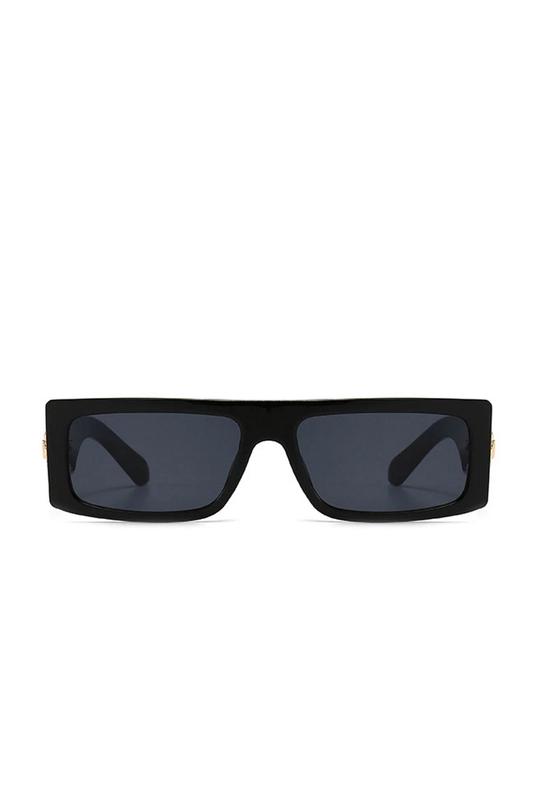 Nico Köşeli Dikdörtgen Çerçeveli Erkek Güneş Gözlüğü Siyah