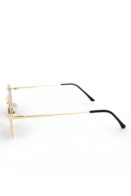Noa Gold Metal Çerçeveli Beşgen Unisex Güneş Gözlüğü Kahverengi