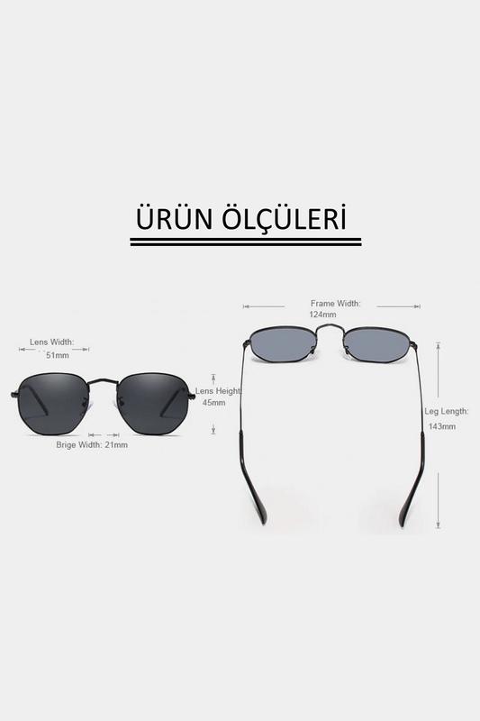 Nos Siyah Metal Çerçeveli Beşgen Unisex Güneş Gözlüğü Siyah