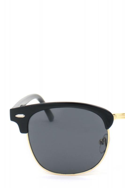 Old School Cat Eye Unisex Erkek Güneş Gözlüğü Gold Parlak Siyah