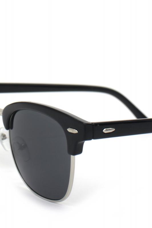 Old School Cat Eye Unisex Erkek Güneş Gözlüğü Silver Parlak Siyah