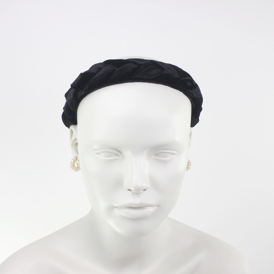 Örgülü Kadife Taç Saç Aksesuarı Siyah