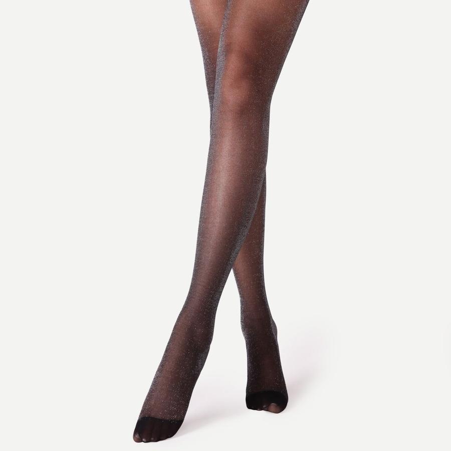Parlak Simli İnce Külotlu Çorap Siyah