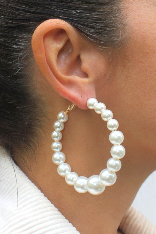 Pearl Me Beyaz İncili Büyük Halka Küpe