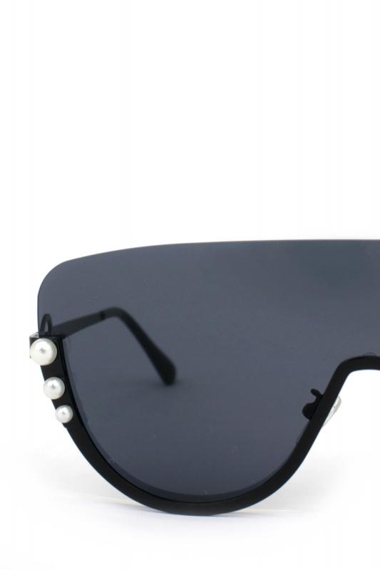 Pearly İncili Yarım Çerçeveli Büyük Bayan Güneş Gözlüğü Siyah