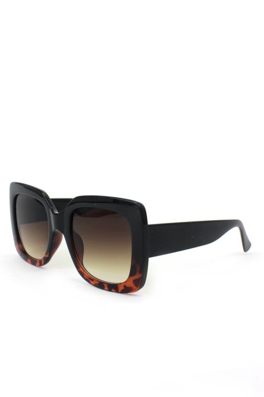 Perfect Büyük Kare Güneş Gözlüğü Altı Leoparlı Siyah