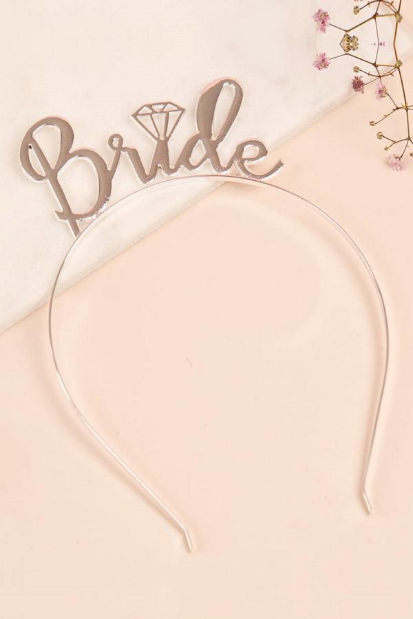 Pırlanta Bride Yazılı Gelin Taç Saç Aksesuarı Silver