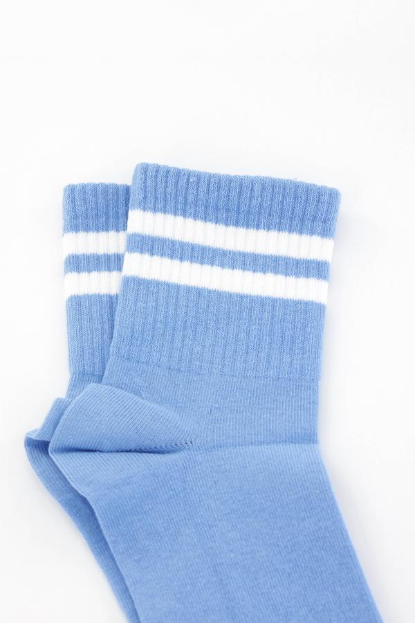 Pretty Beyaz Çizgili Soket Çorap Mavi