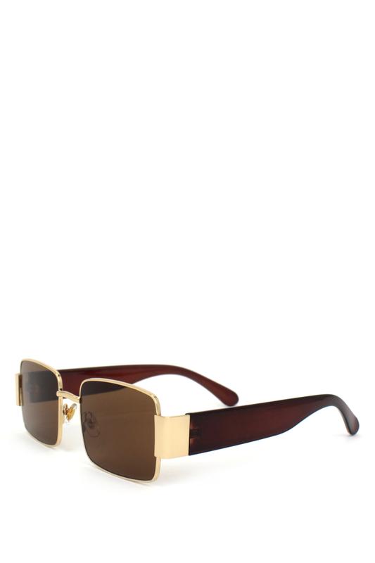 Primavera Gold Metal Çerçeveli Kare Güneş Gözlüğü Kahverengi