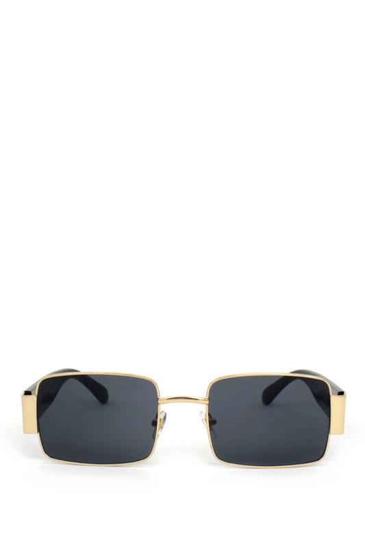 Primavera Gold Metal Çerçeveli Kare Güneş Gözlüğü Siyah