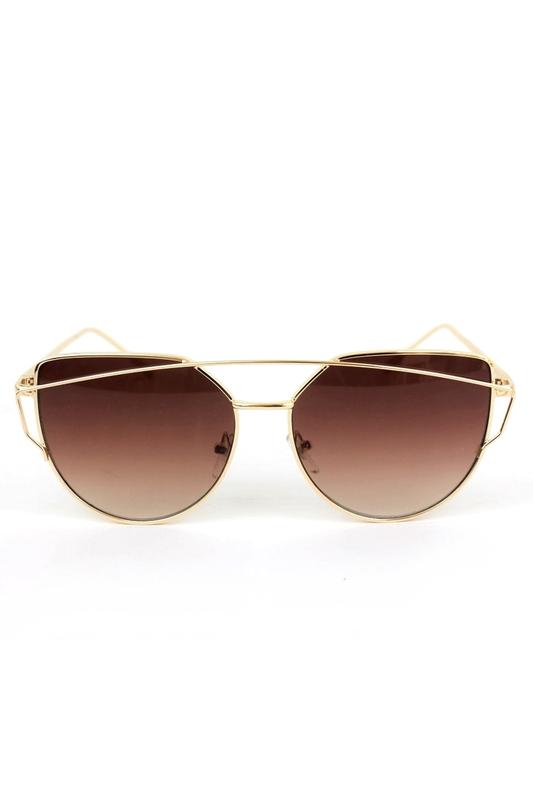 Punch Gold Çerçeveli Bayan Güneş Gözlüğü Kahverengi