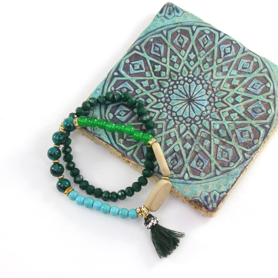 Püsküllü Turkuaz Mavi & Yeşil Taşlı Bileklik
