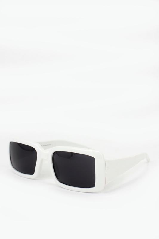 Radiant Siyah Camlı Büyük Dikdörtgen Güneş Gözlüğü Beyaz