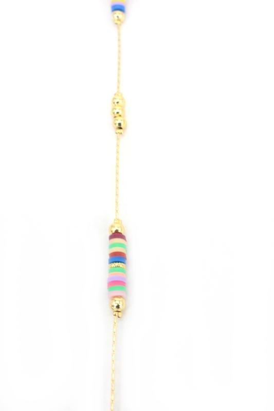Rainbow Gold Zincirli Renkli Boncuklu Gözlük Zinciri