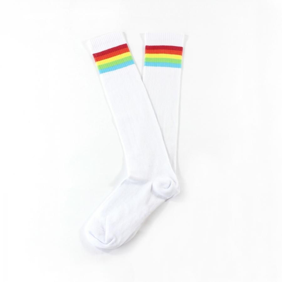 Rainbow Renkli Çizgili Diz Altı Koton Spor Çorap Beyaz