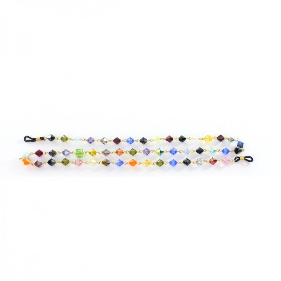 Renkli Cam Boncuklu Gözlük Zinciri Gold