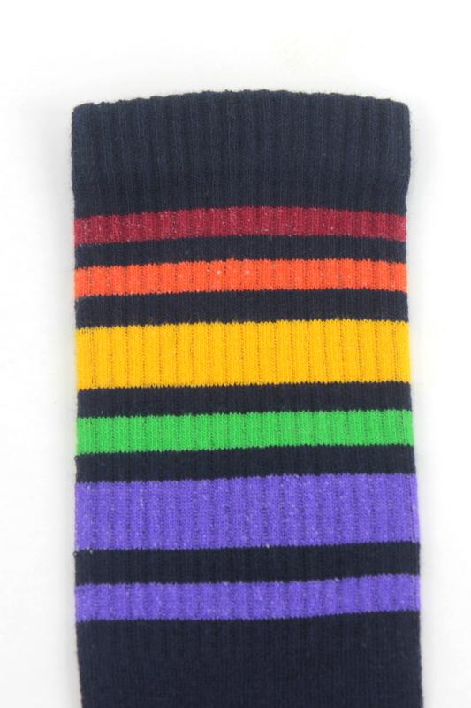 Renkli Çizgili Pamuklu Soket Çorap Lacivert