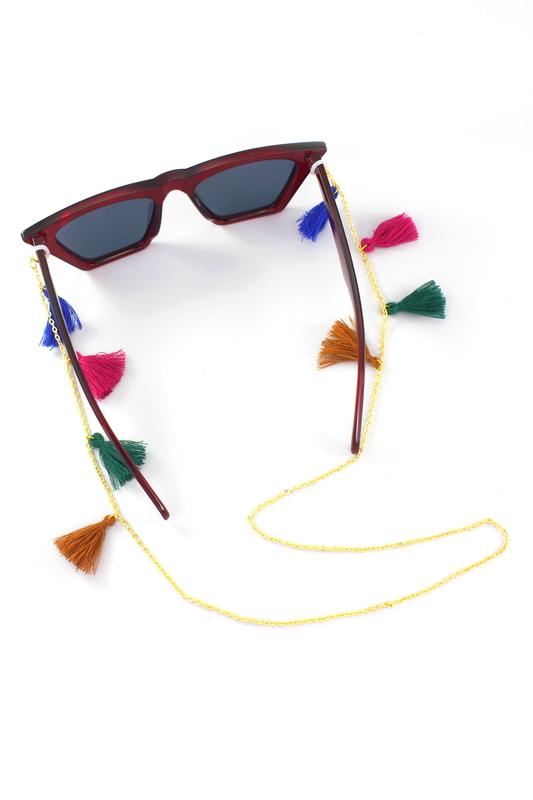 Renkli Püsküllü Gözlük Zinciri Gold