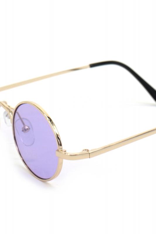 Retro Dream Gold Metal Çerçeveli Küçük Oval Güneş Gözlüğü Mor