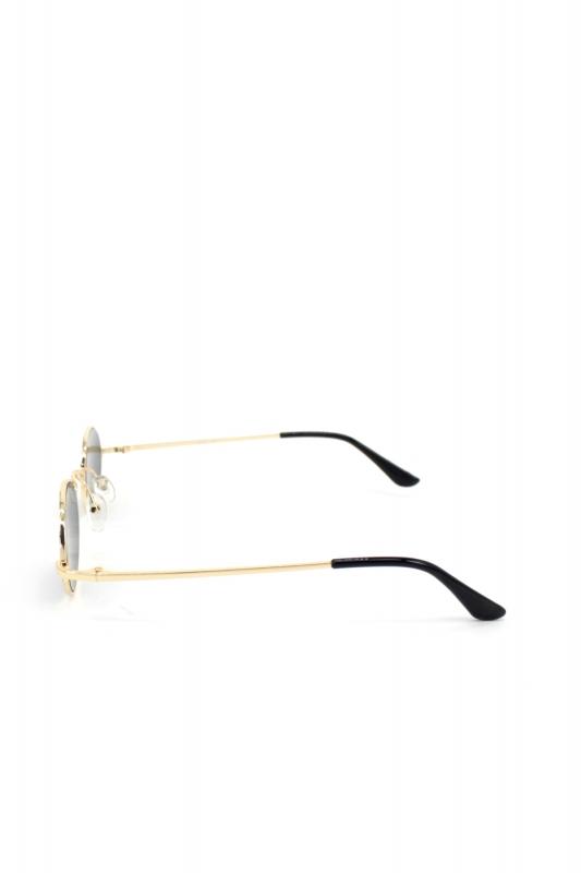 Retro Dream Gold Metal Çerçeveli Küçük Oval Güneş Gözlüğü Siyah