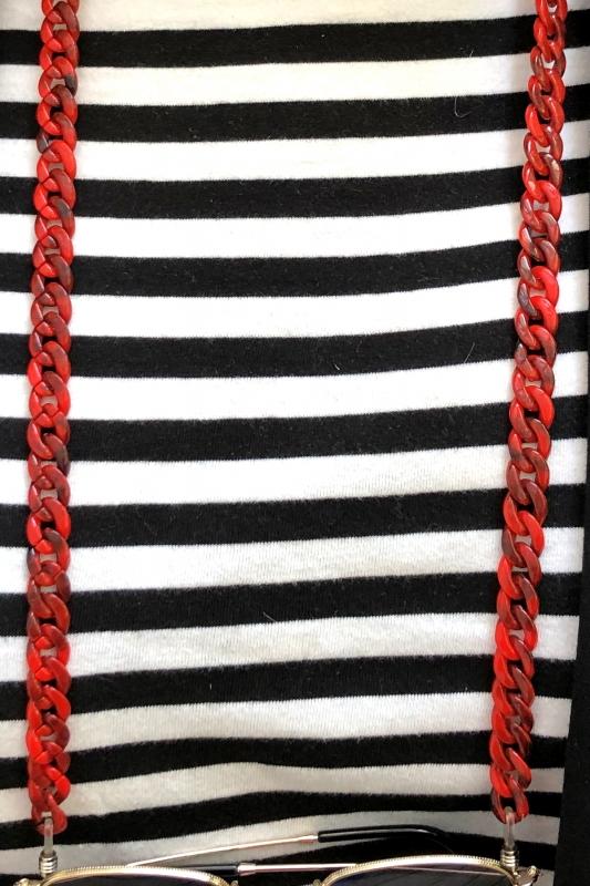 Retro İnce Kemik Gözlük Zinciri Mercan Kırmızı
