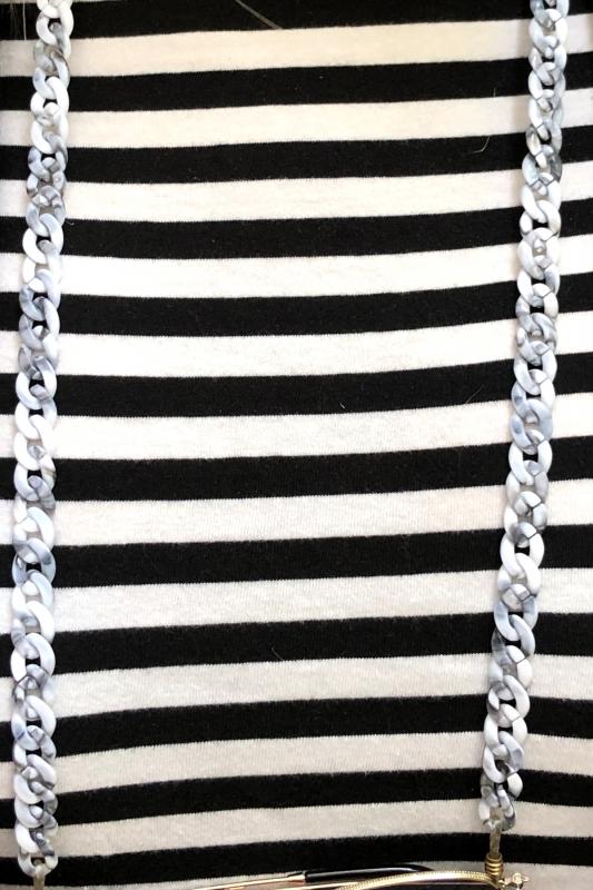 Retro İnce Kemik Gözlük Zinciri Siyah Beyaz