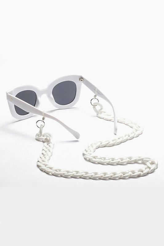 Retro Kalın Gözlük Zinciri Beyaz