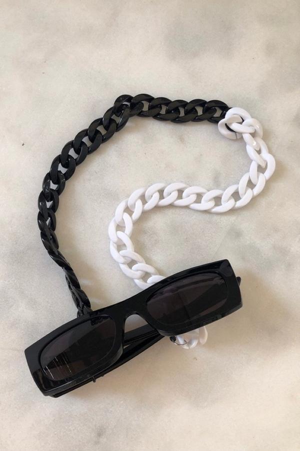 Retro Kalın Gözlük Zinciri Siyah Beyaz