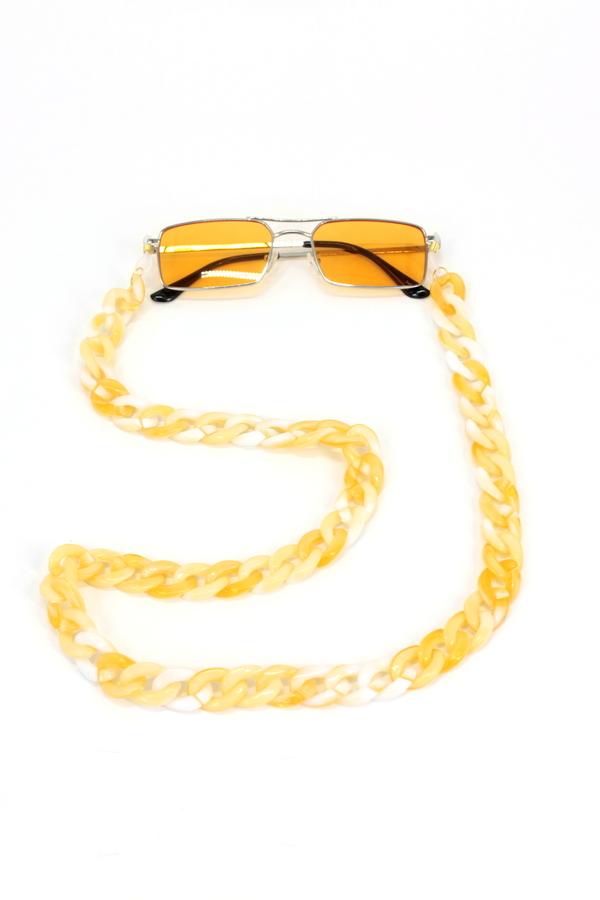 Retro Kalın Kemik Gözlük Zinciri Degrade Bej Beyaz