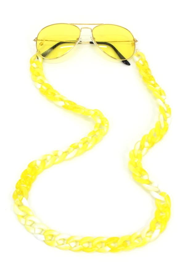 Retro Kalın Kemik Gözlük Zinciri Degrade Sarı Beyaz