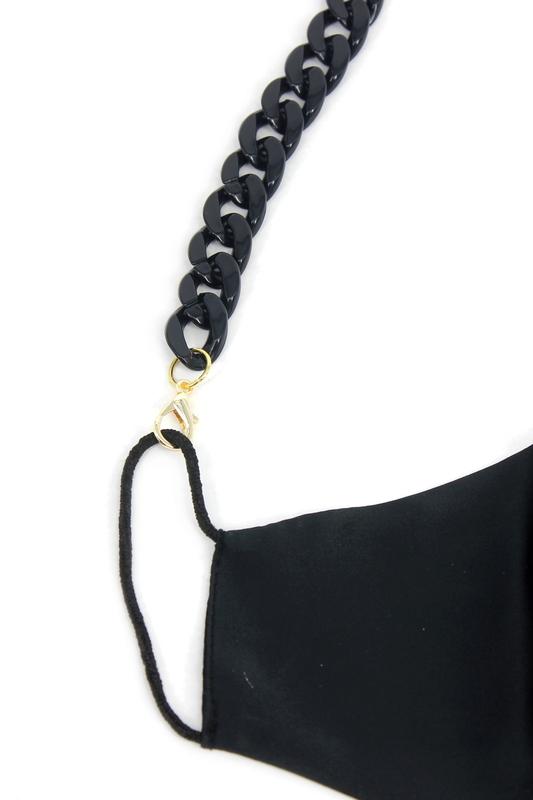 Retro Kalın Kemik Maske Zinciri Siyah 75cm