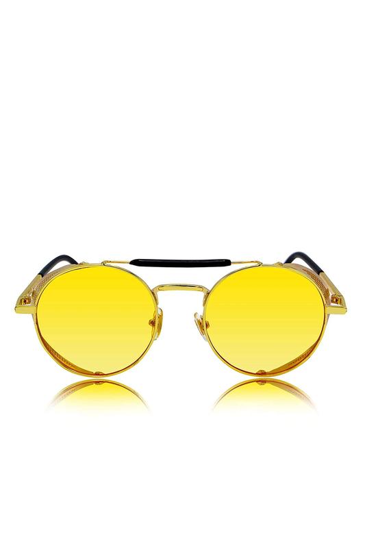 Retro Steampunk Gold Metal Çerçeveli Yuvarlak Unisex Güneş Gözlüğü Sarı