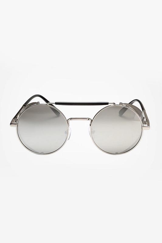 Retro Steampunk Silver Metal Çerçeveli Yuvarlak Unisex Güneş Gözlüğü Gümüş Aynalı