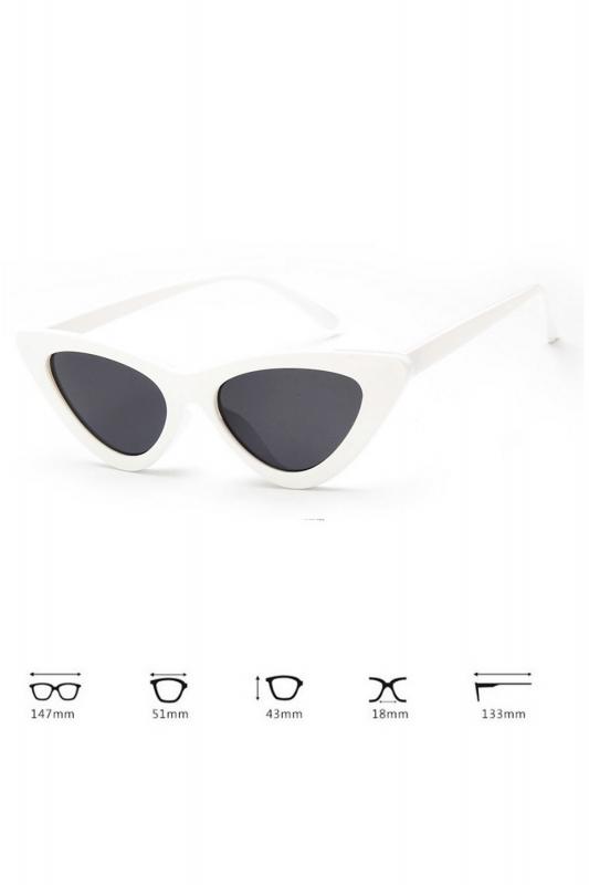 Retro Üçgen Cat Eye Güneş Gözlüğü Beyaz