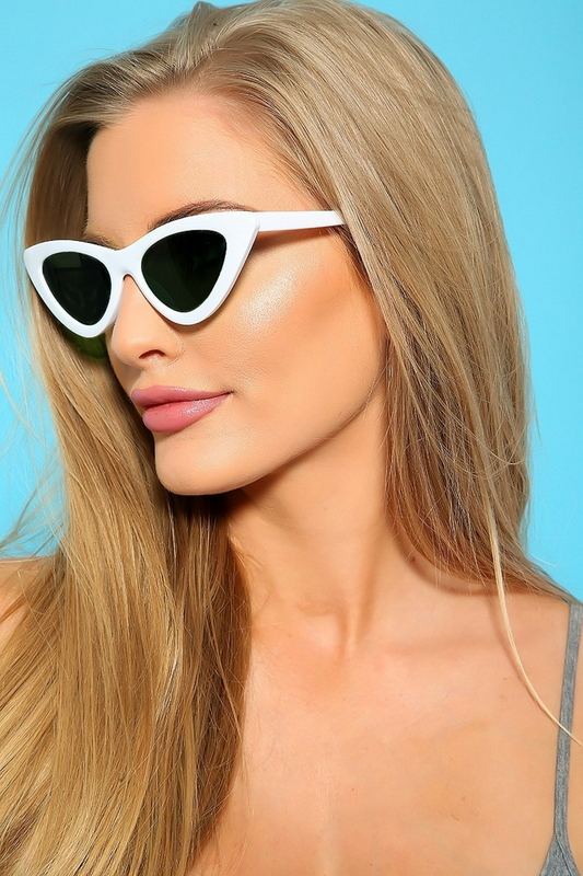 Retro Üçgen Cat Eye Güneş Gözlüğü New Beyaz