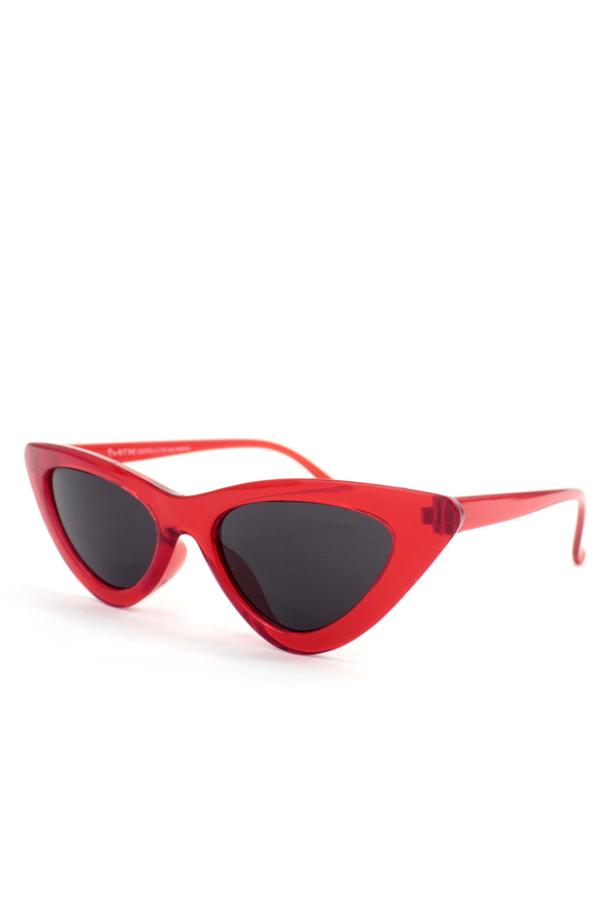 Retro Üçgen Cat Eye Güneş Gözlüğü Şeffaf Kırmızı