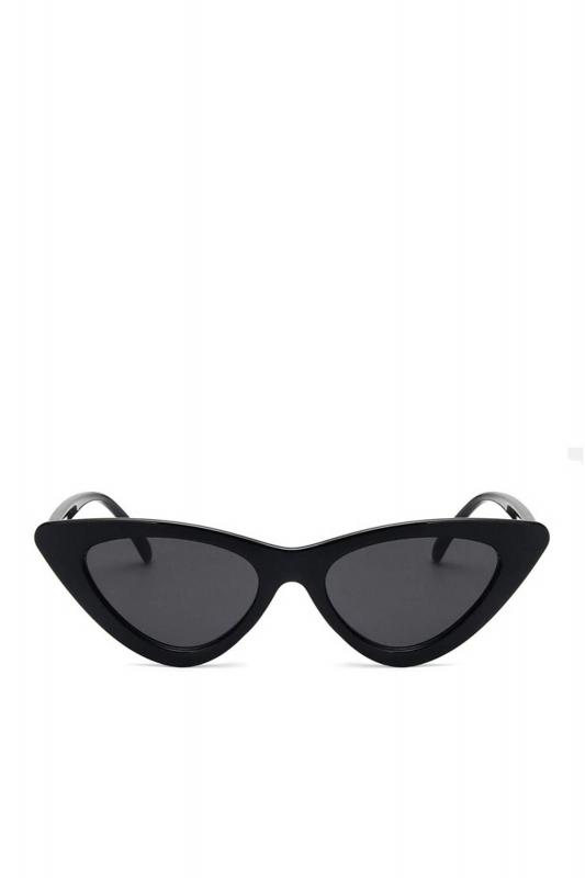 Retro Üçgen Cat Eye Güneş Gözlüğü Siyah