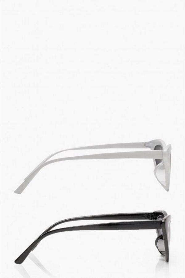 Retro Üçgen Cat Eye Güneş Gözlüğü Siyah Beyaz 2'li