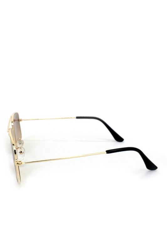 Roki Gold Metal Çerçeveli Küçük Dikdörtgen Uniseks Güneş Gözlüğü Kahverengi