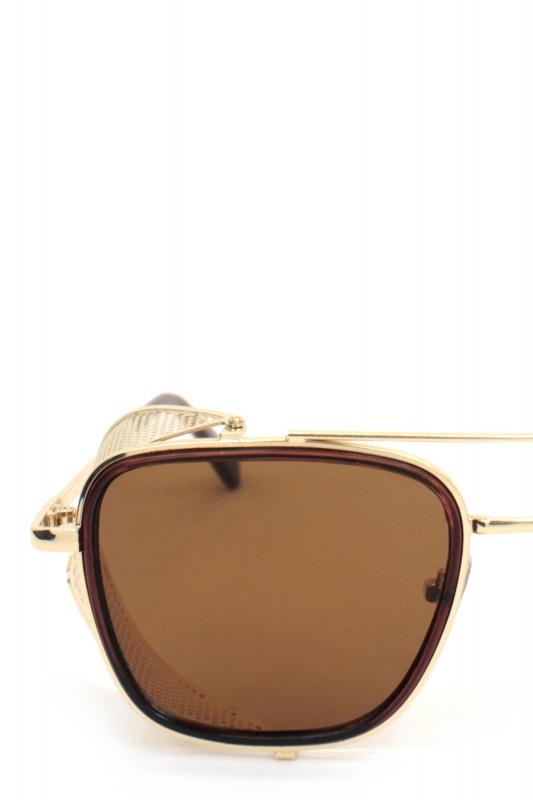 Sawyer Gold Metal Çerçeveli Yanı Kalkanlı Unisex Güneş Gözlüğü Kahverengi