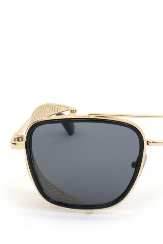Sawyer Gold Metal Çerçeveli Yanı Kalkanlı Unisex Güneş Gözlüğü Siyah