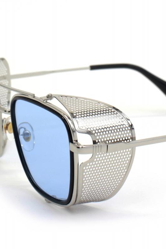 Sawyer Silver Metal Çerçeveli Yanı Kalkanlı Unisex Güneş Gözlüğü Mavi