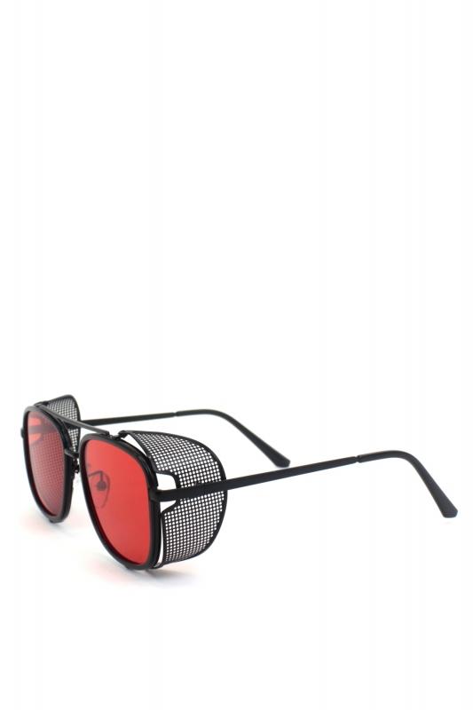 Sawyer Siyah Metal Çerçeveli Yanı Kalkanlı Unisex Güneş Gözlüğü Kırmızı